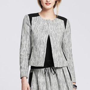 Banana Republic Tweed Black/White Jacket Sz 2